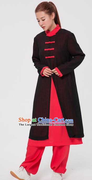 Asian Chinese Martial Arts Traditional Kung Fu Costume Tai Ji Training Black Coat for Women