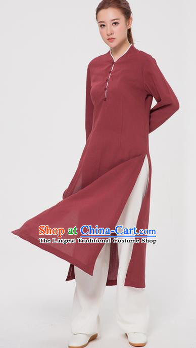 Asian Chinese Martial Arts Traditional Kung Fu Costume Tai Ji Training Rust Red Coat for Women