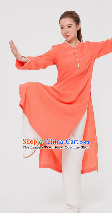 Asian Chinese Martial Arts Traditional Kung Fu Costume Tai Ji Training Orange Coat for Women
