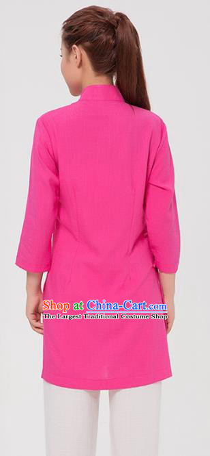 Asian Chinese Martial Arts Traditional Kung Fu Costume Tai Ji Training Rosy Blouse for Women