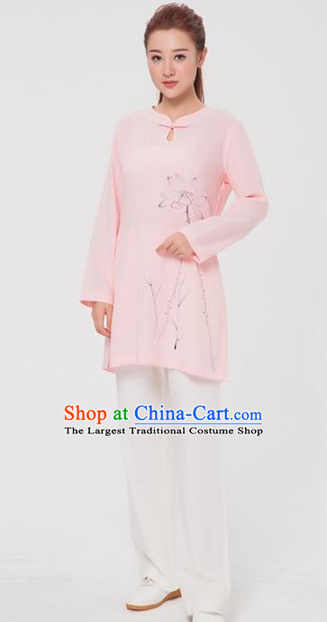 Asian Chinese Martial Arts Traditional Kung Fu Costume Tai Ji Training Ink Painting Lotus Pink Blouse for Women