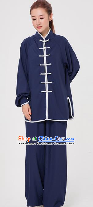 Asian Chinese Martial Arts Traditional Kung Fu Costume Tai Ji Training Navy Uniform for Women