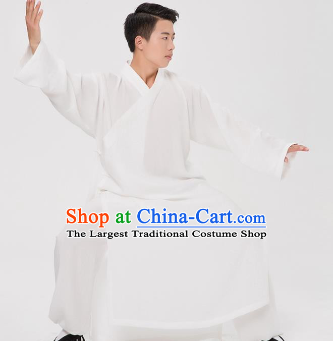 Asian Chinese Traditional Martial Arts Kung Fu Costume Tang Suit Tai Ji White Robe for Men
