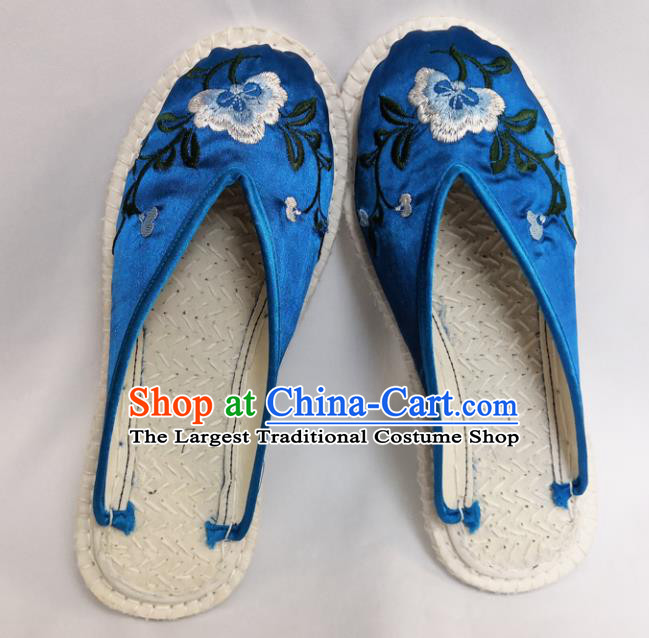 Chinese Ancient Princess Shoes Traditional Blue Satin Slippers Hanfu Shoes Embroidered Shoes for Women