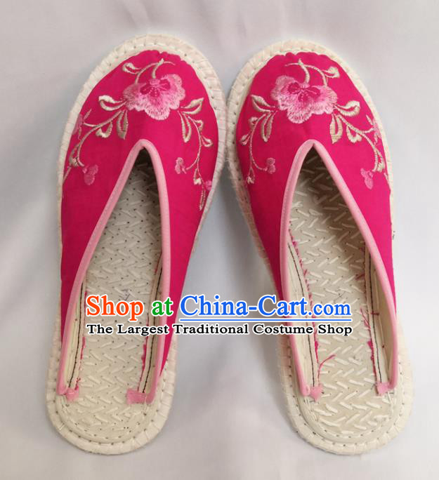 Chinese Ancient Princess Shoes Traditional Pink Cloth Slippers Hanfu Shoes Embroidered Shoes for Women