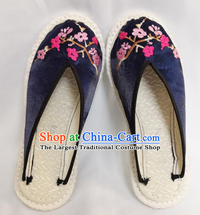 Chinese Ancient Princess Shoes Traditional Navy Satin Slippers Hanfu Shoes Embroidered Shoes for Women