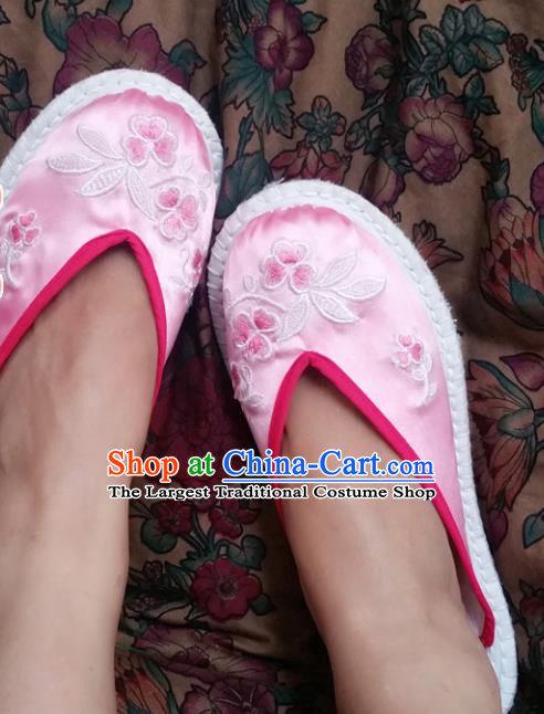Chinese Ancient Princess Shoes Traditional Pink Satin Slippers Hanfu Shoes Embroidered Shoes for Women