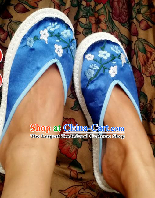 Chinese Ancient Princess Shoes Traditional Blue Satin Slippers Hanfu Shoes Embroidered Plum Blossom Shoes for Women