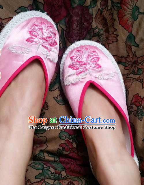 Chinese Ancient Princess Slippers Traditional Embroidered Lotus Pink Satin Shoes Hanfu Shoes for Women