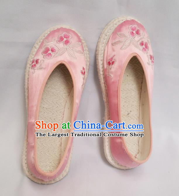 Chinese Ancient Princess Shoes Traditional Embroidered Pink Satin Shoes Hanfu Shoes for Women