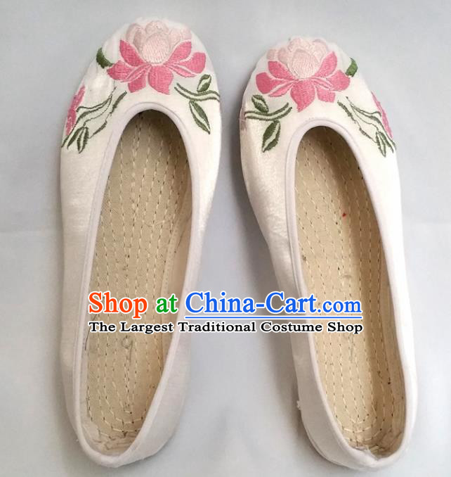 Chinese Ancient Princess Shoes Traditional Cloth Shoes Hanfu Shoes White Embroidered Lotus Shoes for Women