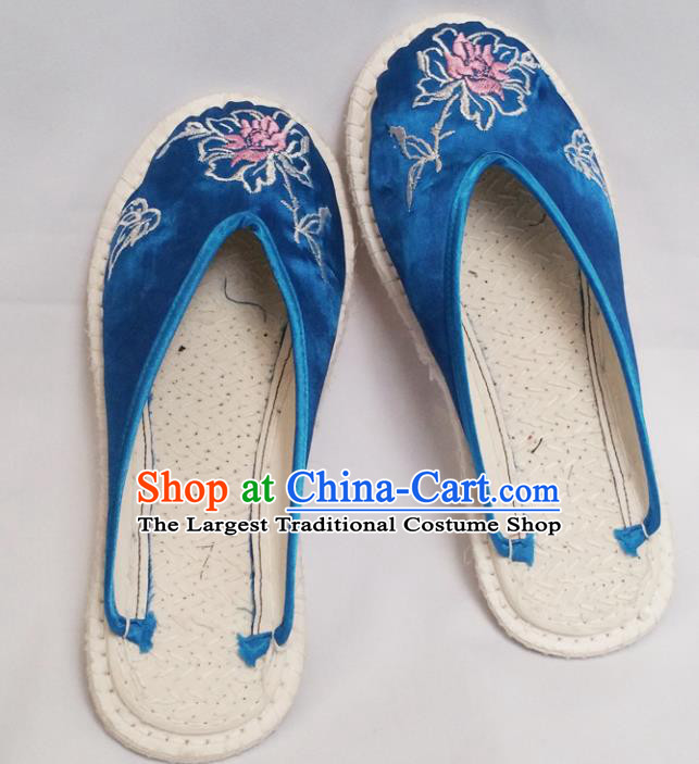 Chinese Ancient Princess Blue Satin Slippers Traditional Embroidered Peony Shoes Hanfu Shoes for Women