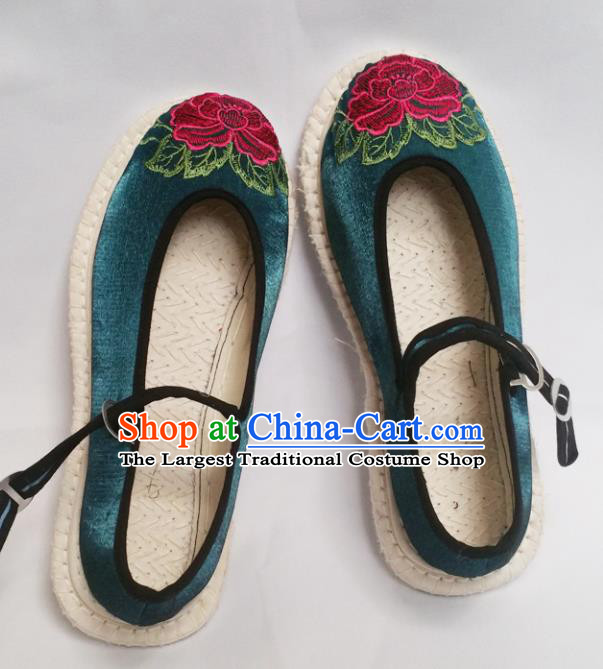 Chinese Ancient Princess Shoes Traditional Cloth Shoes Hanfu Shoes Deep Green Embroidered Shoes for Women