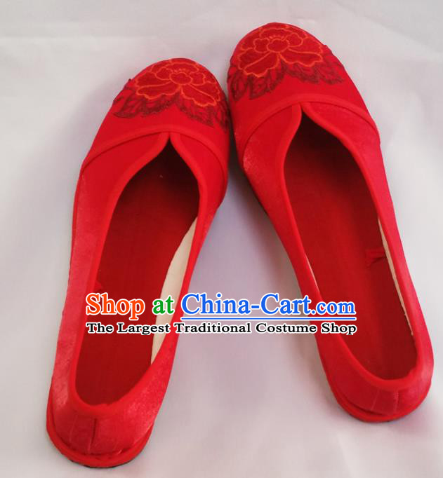 Chinese Ancient Princess Wedding Shoes Traditional Red Cloth Shoes Hanfu Shoes Embroidered Shoes for Women