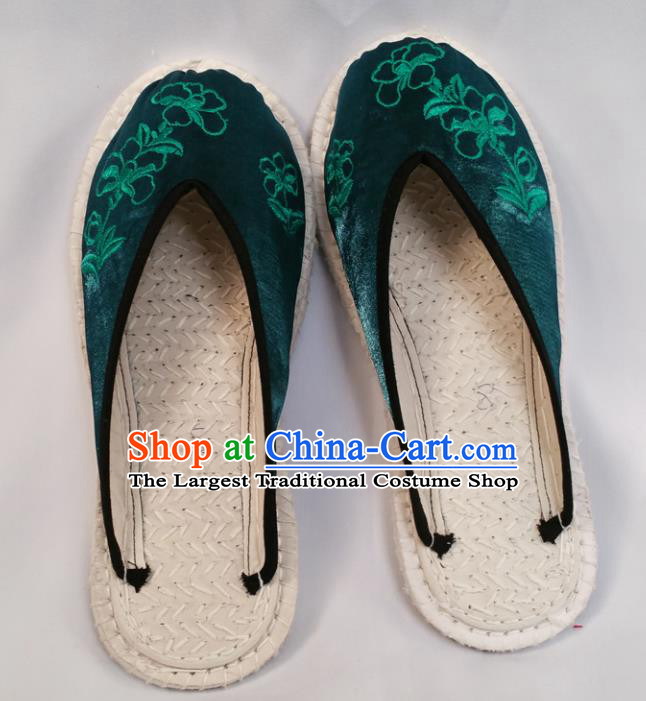 Chinese Ancient Princess Deep Green Satin Slippers Traditional Embroidered Shoes Hanfu Shoes for Women
