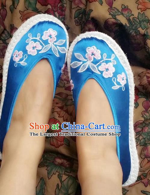 Chinese Ancient Princess Shoes Traditional Cloth Shoes Hanfu Shoes Blue Embroidered Shoes for Women
