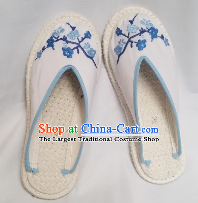 Chinese Ancient Princess White Slippers Traditional Embroidered Shoes Hanfu Shoes for Women