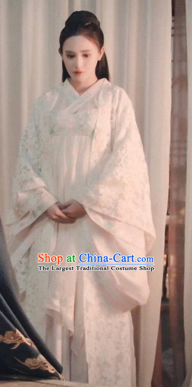 Traditional Chinese Ancient Imperial Consort White Hanfu Dress Tang Dynasty Palace Lady Embroidered Historical Costume for Women