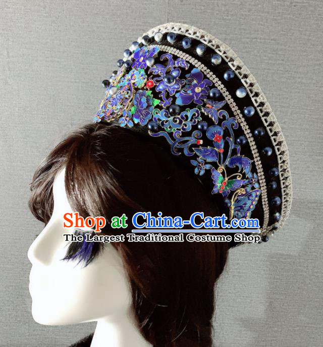 Chinese Handmade Blueing Hair Accessories Ancient Palace Queen Hat Phoenix Coronet Headwear for Women