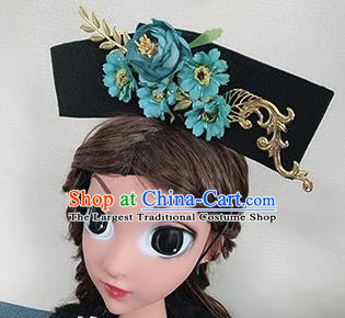 Chinese Handmade Qing Dynasty Princess Hair Accessories Ancient Palace Green Peony Hair Clasp for Women