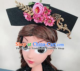Traditional Chinese Handmade Qing Dynasty Hair Accessories Ancient Palace Princess Pink Peony Hair Clasp for Women