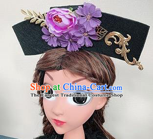 Traditional Chinese Handmade Qing Dynasty Hair Accessories Ancient Palace Princess Purple Peony Hair Clasp for Women