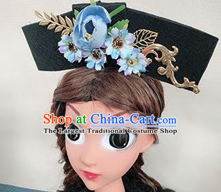 Traditional Chinese Qing Dynasty Princess Blue Peony Hair Accessories Handmade Ancient Hair Clasp for Women