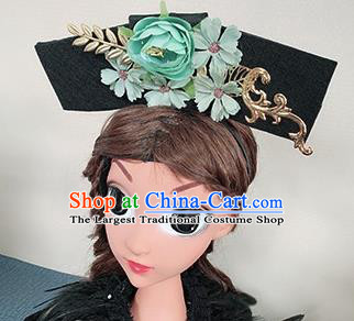 Traditional Chinese Qing Dynasty Princess Green Peony Hair Accessories Handmade Ancient Hair Clasp for Women