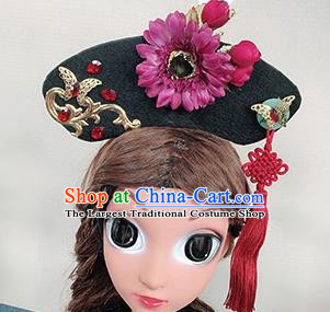 Traditional Chinese Qing Dynasty Princess Hair Accessories Handmade Ancient Purple Flower Hair Clasp for Women