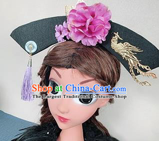 Traditional Chinese Qing Dynasty Princess Hair Accessories Handmade Ancient Purple Peony Hair Clasp for Women