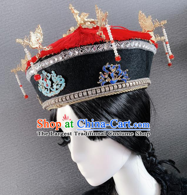 Traditional Chinese Ancient Palace Queen Headwear Qing Dynasty Manchu Hair Accessories for Women