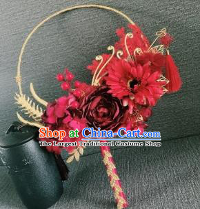 Chinese Traditional Wedding Palace Fans Ancient Bride Red Flowers Phoenix Round Fans for Women