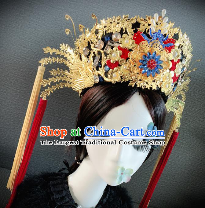 Traditional Chinese Ancient Palace Queen Cloisonne Phoenix Coronet Headwear Qing Dynasty Manchu Hair Accessories for Women