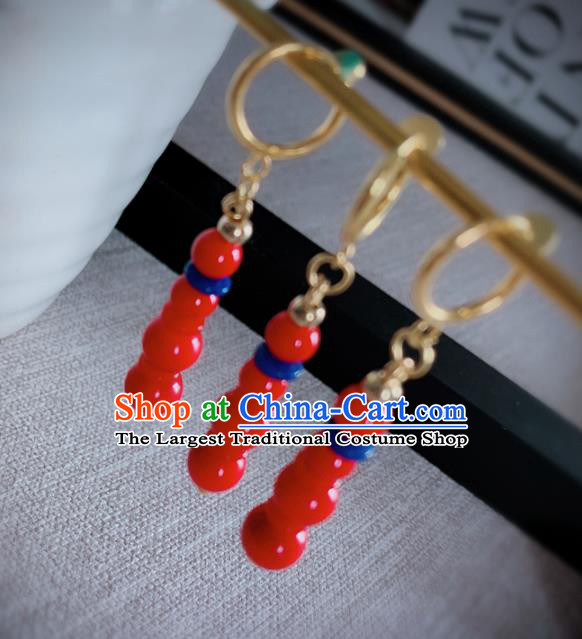 Chinese Traditional Ancient Qing Dynasty Manchu Lady Red Beads Earrings for Women