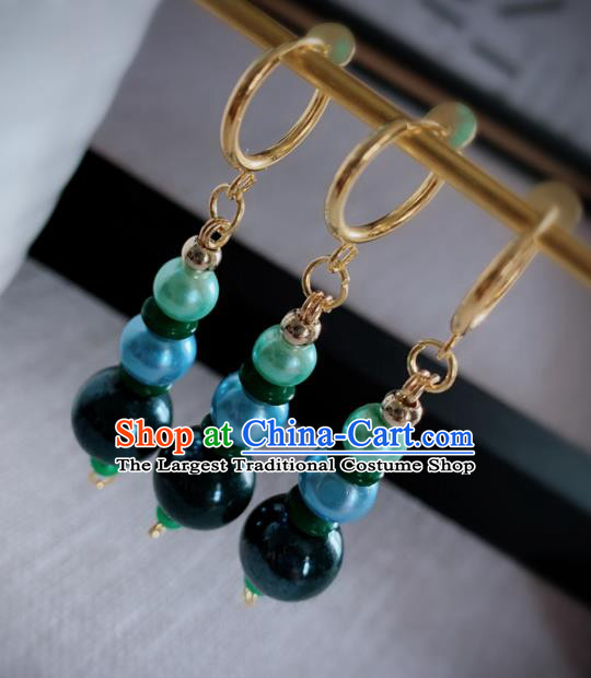 Chinese Traditional Ancient Qing Dynasty Manchu Lady Green Beads Earrings for Women