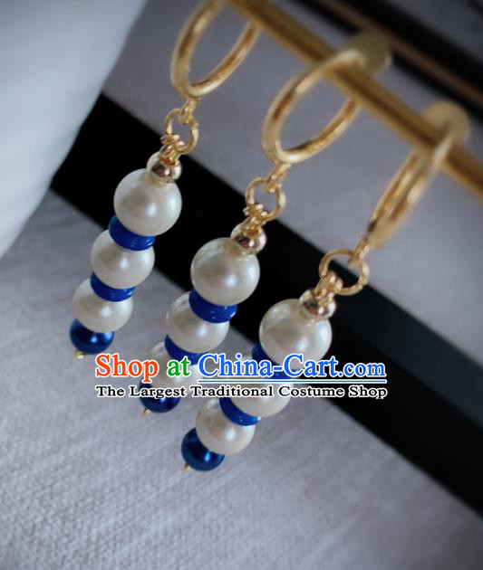 Chinese Traditional Ancient Qing Dynasty Manchu Lady White Beads Earrings for Women