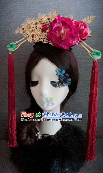 Traditional Chinese Ancient Qing Dynasty Palace Hair Accessories Queen Rosy Peony Headwear for Women