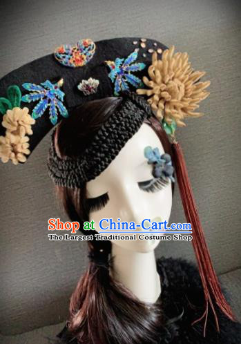 Traditional Chinese Ancient Palace Khaki Velvet Chrysanthemum Hair Accessories Qing Dynasty Queen Headwear for Women