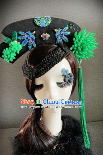 Traditional Chinese Ancient Palace Green Velvet Chrysanthemum Hair Accessories Qing Dynasty Queen Headwear for Women