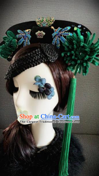 Traditional Chinese Ancient Palace Deep Green Velvet Chrysanthemum Hair Accessories Qing Dynasty Queen Headwear for Women