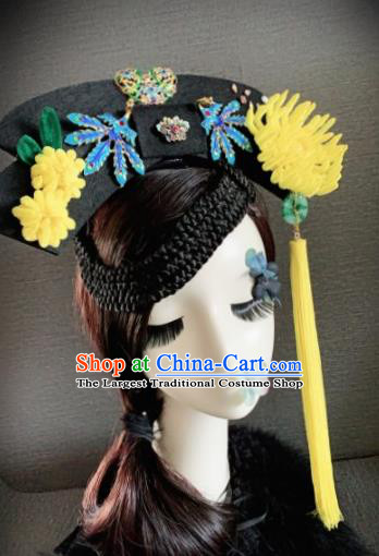 Traditional Chinese Ancient Palace Yellow Velvet Chrysanthemum Hair Accessories Qing Dynasty Queen Headwear for Women