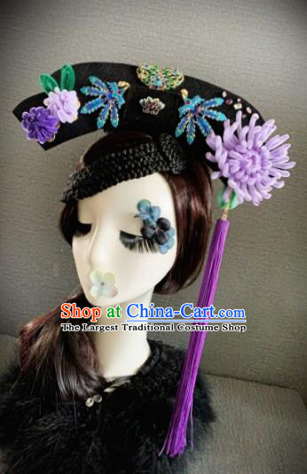 Traditional Chinese Ancient Palace Light Purple Velvet Chrysanthemum Hair Accessories Qing Dynasty Queen Headwear for Women