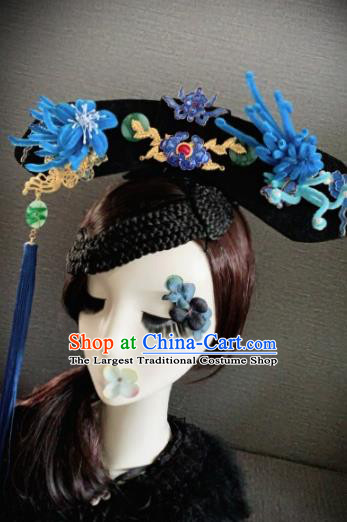 Traditional Chinese Ancient Palace Blue Velvet Phoenix Hair Accessories Qing Dynasty Queen Headwear for Women
