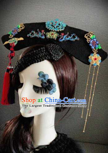 Traditional Chinese Qing Dynasty Queen Headwear Ancient Palace Phoenix Hair Accessories for Women