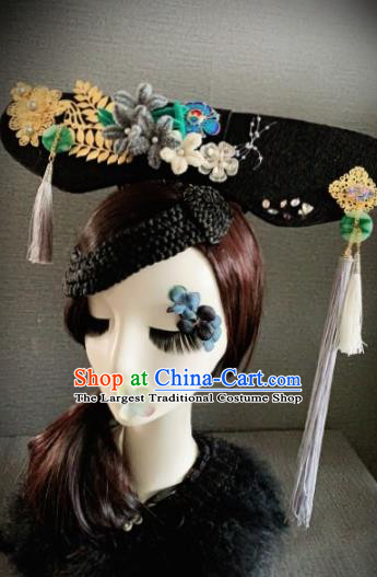 Traditional Chinese Qing Dynasty Manchu Headwear Ancient Palace Queen Hair Accessories for Women