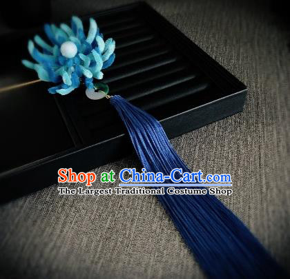 Traditional Chinese Ancient Qing Dynasty Palace Queen Blue Velvet Chrysanthemum Hairpins Headwear Hair Accessories for Women