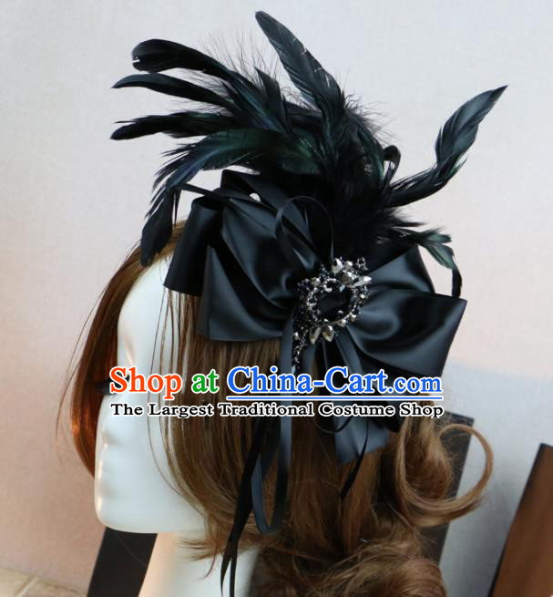 Top Grade Stage Performance Bowknot Hair Accessories Gothic Bride Black Feather Hair Stick Headwear for Women
