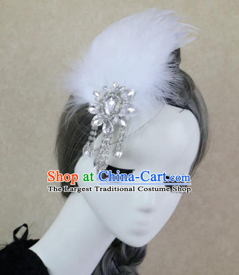 Top Grade Stage Performance White Feather Hair Accessories Gothic Halloween Hair Stick Headwear for Women