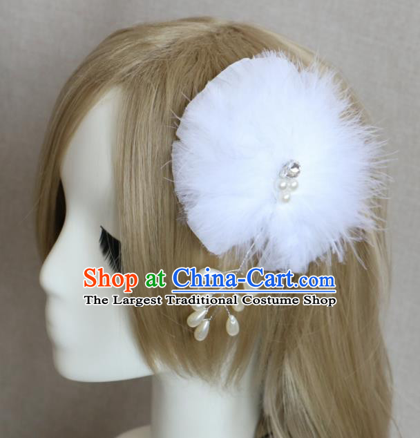 Top Grade Princess White Feather Bowknot Hair Accessories Bride Stage Performance Hair Stick Headwear for Women