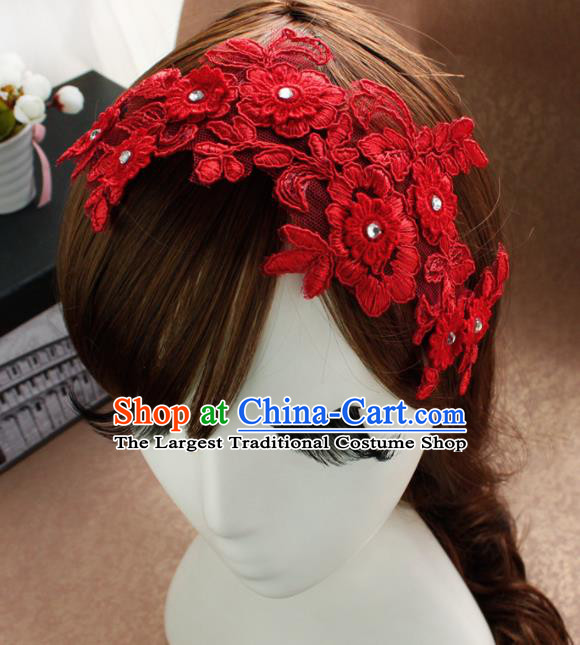 Top Grade Princess Red Lace Hair Accessories Bride Hair Stick Headwear for Women